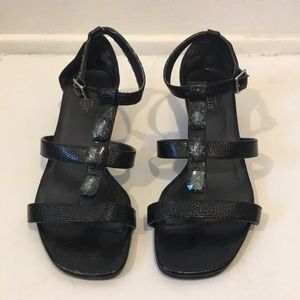 Black strappy wedge sandal with bead detail